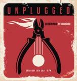 Akustyczny koncertowy retro plakatowy projekta szablon ilustracji