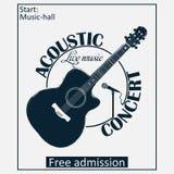 Akustyczny musicalu koncerta plakat z gitarą i mikrofonem wektor Fotografia Royalty Free