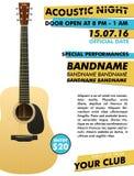 Akustyczny noc występu plakat w twój świetlicowym Indie muzyka koncerta przedstawieniu z realistyczną gitarą ilustracja wektor