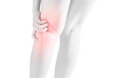 Akut smärta i en hopfällbar skarv för kvinna av benet som isoleras på vit bakgrund Snabb bana på vit bakgrund arkivfoto