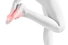 Akut smärta i fot för en kvinna som isoleras på vit bakgrund Snabb bana på vit bakgrund Arkivbild