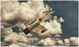 Akutan zero fighter. Akutan zero plane fighter in old photo Royalty Free Stock Photo