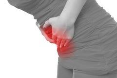 Akute Schmerz in einem Frauenbauch Lizenzfreie Stockfotografie