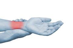 Akute Schmerz in einem Frauenhandgelenk Lizenzfreie Stockfotos