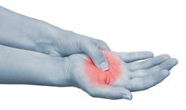 Akute Schmerz in einem Frauenhandgelenk Stockfotografie