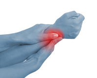 Akute Schmerz in einem Frauenhandgelenk Lizenzfreies Stockfoto