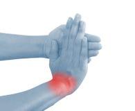 Akute Schmerz in einem Frauenhandgelenk Lizenzfreies Stockbild