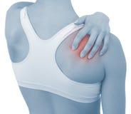 Akute Schmerz in einem Frauenhandgelenk Stockfoto