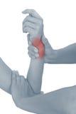 Akute Schmerz in einem Frauenhandgelenk. Lizenzfreie Stockbilder
