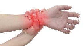 Akute Schmerz in einem Frauenhandgelenk. Weibliche haltene Hand zur Stelle von wris Stockbild
