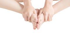 Akute Schmerz in einem Frauenknöchel lokalisiert auf weißem Hintergrund Beschneidungspfad auf weißem Hintergrund Stockfotos