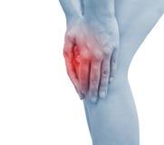 Akute Schmerz in einem Frauenknie Lizenzfreies Stockfoto
