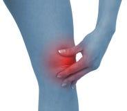 Akute Schmerz in einem Frauenknie Lizenzfreie Stockfotos