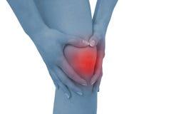 Akute Schmerz in einem Frauenknie Stockfotografie