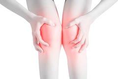 Akute Schmerz in einem Frauenknie lokalisiert auf weißem Hintergrund Beschneidungspfad auf weißem Hintergrund Lizenzfreie Stockbilder