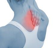 Akute Schmerz in einem Frauenstutzen Stockbilder