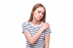 Akute Schmerz in einem Frauenwinkelstück lizenzfreie stockfotos