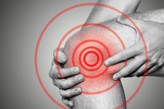 Akute Schmerz in einem Kniegelenk, Nahaufnahme Einfarbiges Bild, auf einem weißen Hintergrund Schmerzbereich der roten Farbe Stockfotos