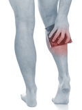 Akute Schmerz in einem Mannkalb Lizenzfreie Stockfotos