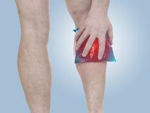 Akute Schmerz in einem Mannkalb Stockbild