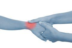 Akute Schmerz in einer Frauenpalme Stockbild