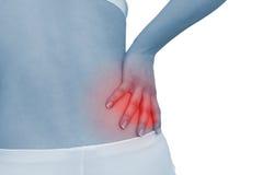 Akute Schmerz in einer Frauenrückseite Stockfoto