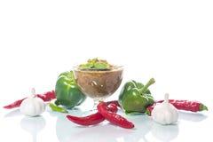 Akute Soße von adzhika von den verschiedenen Arten des Pfeffers Lizenzfreie Stockbilder