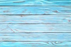 Akvamarinbordlägger träplankor, lantliga blått för urblekt wood yttersida w arkivfoton