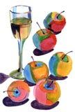 Akvarelläpplen Royaltyfri Bild