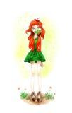Akvarell Autumn Girl med bladet Royaltyfri Foto