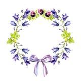 Akvarellcirkelram av blåklockor, sidor, purpurfärgade violets och pilbågen av detlilor bandet stock illustrationer