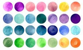 Akvarellcirkeltexturer Stock Illustrationer