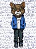 Akvarellillustration av en katt i kläder Royaltyfri Illustrationer