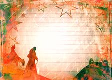 Akvarelljul Mary & Joseph Paper Royaltyfri Foto