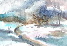 Akvarelllandskap av en lös flod i vintern stock illustrationer