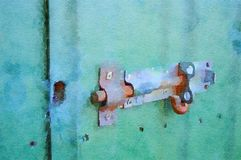 Akvarellmålning av glidningsbulten på skjuldörr Fotografering för Bildbyråer
