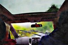 Akvarellmålning Sikt av bilen för vindruta från inre Arkivfoto