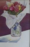 Akvarellmålningvas av rosor Arkivbild