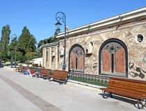 Akvarium av Constanta Rumänien - sidosikt Arkivbilder