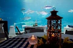 Akvarium i restaurang Fotografering för Bildbyråer
