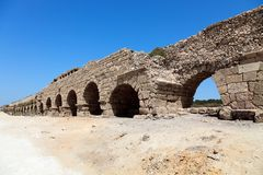 Akvedukt i Israel royaltyfria bilder