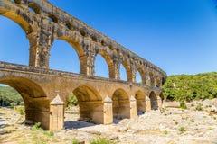Akvedukt Pont du Gard, Frankrike Arkivfoto