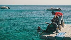 Akwalungów nurkowie Dostaje Przygotowywający Skakać z mola w Czerwonego morze, Egipt zdjęcie wideo