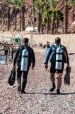 Akwalungów nurkowie iść morze Zdjęcia Royalty Free