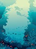 Akwalungów nurkowie, rafa koralowa, ryba, podwodny morze royalty ilustracja