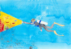 Akwalungu nurek z pochodnią Zdjęcia Royalty Free