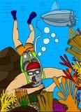 Akwalungu nurek zakłada perłę w skorupie podwodnej Fotografia Stock