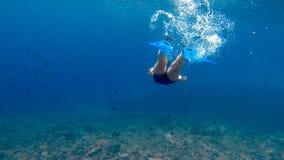 Akwalungu nurka dziewczyna - Podwodna scena zdjęcia stock