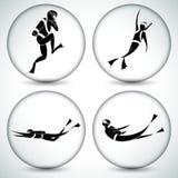 Akwalungu nurka ikony set Zdjęcia Royalty Free