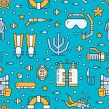Akwalungu pikowanie, snorkeling bezszwowy wzór, wodnego sporta wektorowy błękitny tło Lato aktywności śliczna częstotliwa tapeta ilustracji